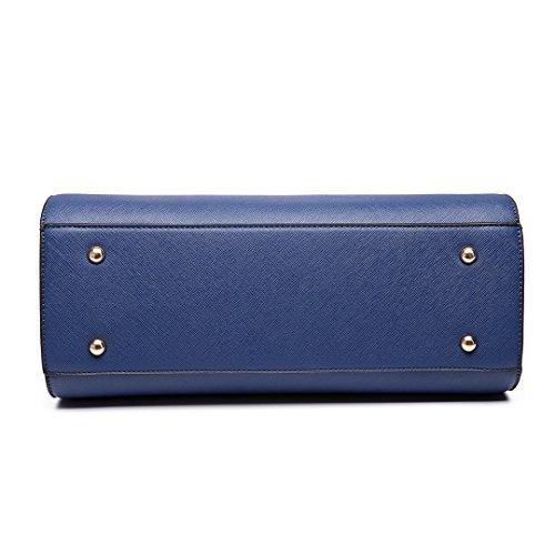 Miss Lulu Damen Klassische Handtasche Winged Schultertasche Groß Umhängetasche Taschen 6627 Dunkelblau