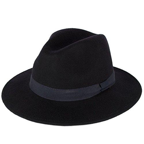 Herren Damen Handgemachte Fedora Hut In Italien 100 % Wolle Gemacht Filz Bow Stil Band, Navy, (59/L) (Fedora Hut Kind)