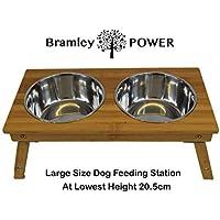 Bramley Power - Estación de alimentación para Perros (Altura Ajustable, bambú)