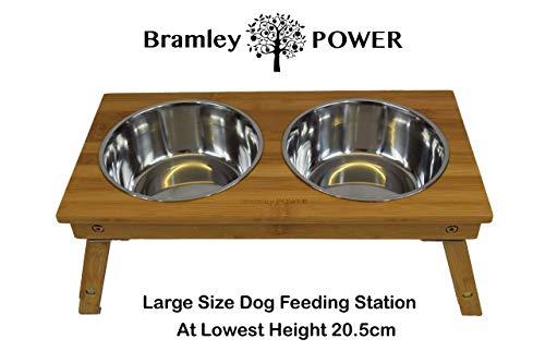 Bramley Power Erhöhte Bambus-Futterstation für Hunde, höhenverstellbar (Groß)