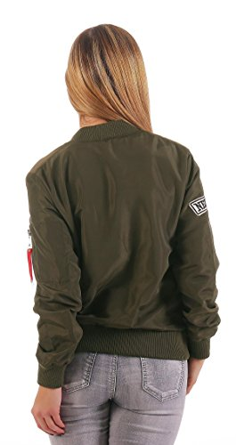Damen Bomberjacke Jacke mit Patches Gr. XS S M L, 1517 Khaki