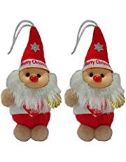 Collectible India Santa Claus Soft Plush Toy for Christmas Decoration - Santa Claus Stuffed Hanging Doll for Christmas Tree Decorations Ornaments - Santa Claus Doll for Kids - Christmas Gifts (2 Pcs)