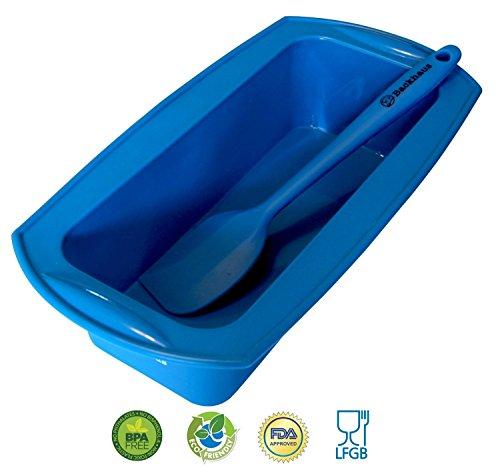 BACKHAUS FlexBake® Silikon Kastenform - Brotbackform & Teigschaber - Premium BackSet in Platin Silikon - Standardgröße Ø: 23cm - Blau