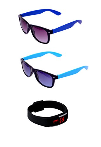RST rectangle club master sunglasses combo pack set of two with watch