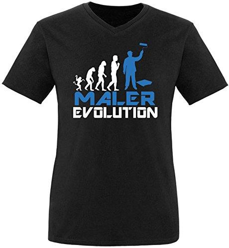 EZYshirt® Maler Evolution Herren V-Neck T-Shirt Schwarz/Weiss/Blau