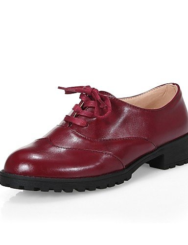 ZQ Scarpe Donna - Stringate - Formale / Casual - Comoda / Punta arrotondata - Basso - Finta pelle - Nero / Marrone / Rosso , black-us6 / eu36 / uk4 / cn36 , black-us6 / eu36 / uk4 / cn36 brown-us8 / eu39 / uk6 / cn39