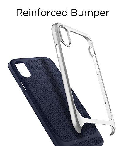 iPhone X Hülle, Spigen® [Neo Hybrid] Doppelschichter Schutz 2-teilige Premium Handyhülle Schwarz Silikon TPU Schale + PC Farbenrahmen Dual Layer Schutzhülle für iPhone X Case Cover NH Satin Silver