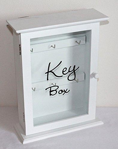 sselkasten Lemgo Key Box 04 zum Stellen und Hängen Holz Weiss Glastür H 29 cm B 22/19 cm T 8/6 cm ()