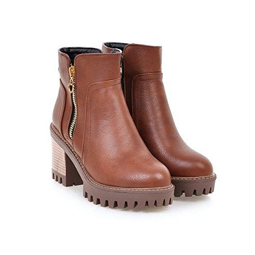 Absatz Allhqfashion Rein Weiches Damen Reißverschluss Braun Hohe Stiefel Knöchel Material Hoher t6xfw6rq