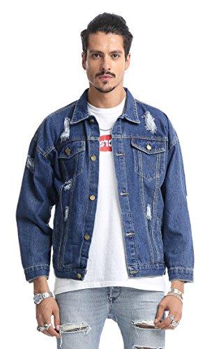 Pizoff unisex Hip Hop Jeansjacke aus Denim in auffälliger Distressed-Optik verwaschenem mit Bunt Hund Druckmuster Einsatz Rückseite (Distressed Jean Jacke Denim)