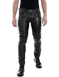 Bockle® 5G-Zip gesteppt schwarze Herren Lederhose mit durchgehendem Reißverschluss