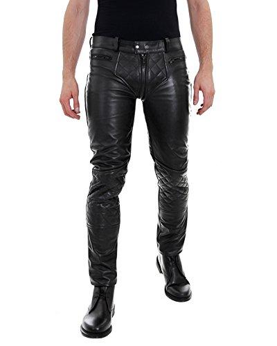 Bockle® 5G-Zip gesteppt schwarze Herren Lederhose mit durchgehendem Reißverschluss Schwarz