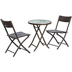 Outsunny Ensemble Salon de Jardin 2 Places Table Ronde Pliable Plateau Verre trempé chaises Pliantes résine tressée Chocolat