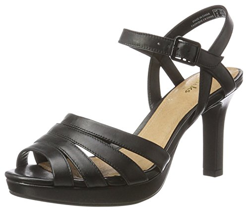 Clarks Damen Mayra Poppy Sandalen, Schwarz (Black Leather), 41 EU