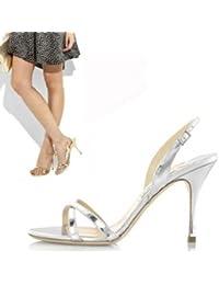 GAOLIM Sandalias De Verano Puro Tacones Finos Zapatos De Boda Zapatos De Tallas,39,9 Centímetros Negro