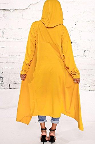 Minetom Femme Elegant Sweat à Capuche Lâche Couleur Unie Haut Top à Manches Longues Tunique Oversize Pullover Sweat-shirt Robe Chemise Longue Jaune