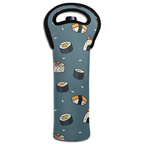 Funny Sushi Food Pattern Wine Bottle Tote Bag Carrier Bag with Handle