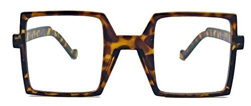 amashades Flat Tops Screen addicted ? quadratische Retro Nerdbrille o.Sonnenbrille für Damen und Herren schwarz TV (braun/clear lens)