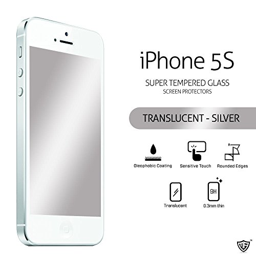 MoArmouz® Super Luxurious Translucent Tempered Glass Screen Protector For iPhone 5S / 5C / 5, HD 9H Hardness / Mobile Accessories / Screen Protectors Proudly (Silver)