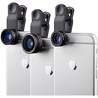 MyGadget Lenti Smartphone – Kit obiettivo 230° Fisheye + 0,63x Grandangolo + 15x Macro – Lens Clip on per Cellulare e Tablet p.e. iPhone Samsung - Nero