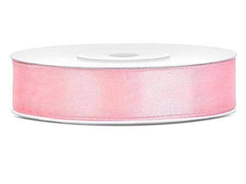 SiDeSo® SATINBAND 25m x 12mm viele Farben Hochzeit Dekoband Geschenkband Antennenband Schleifenband (rosa)