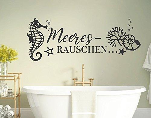 tjapalo® s-pkm410 Wandtattoo Badezimmer sprüche Meeresrauschen Seepferd Wandspruch – in vielen Farben