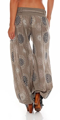 malito Harem Pantaloni con estivo Print Boyfriend Aladin Sbuffo Pantaloni Pump Baggy Yoga 3481 Donna Taglia Unica Fango