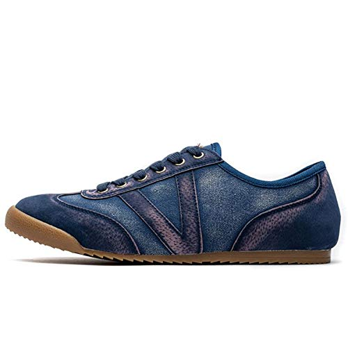 2019 Spring Summer Comfortable Casual Shoes Mens Canvas Shoes for Men Lace-Up Brand Fashion Flat Loafers Shoes Blue 10