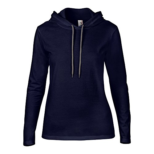 Anvil Womens Fashion Basic Long Sleeve Hooded T Shirt Navy/ Dark Grey