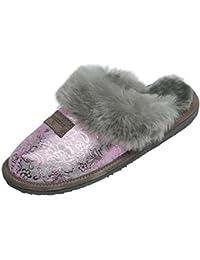 Hollert Peau de Mouton Chaussons - Sydney Modèle 2 Pantoufles pour Dames Pantoufles Chaussures avec Laine Haute qualité - Bariolé, 38 EU