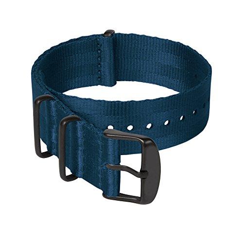 Archer Watch Straps Sicherheitsgurt Stil Gewebtes Nylon NATO Uhrenarmband - Navy Blau/Schwarze Hardware, 22mm - 22mm Nylon-loop-uhr-band