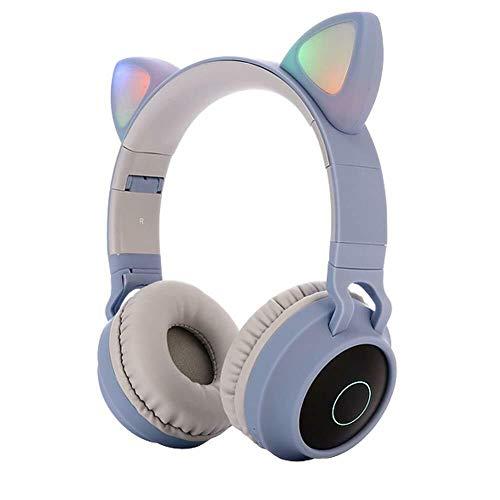 FEDBNET Kinder Kopfhörer mit Katzenohren, Bluetooth 5.0, Stereo, Bluetooth-Kopfhörer, 85 dB, Lautstärkeregler, LED-Licht, Over-Ear-Kopfhörer mit Mikrofon für PC, Handys, Kinder, Jugendliche