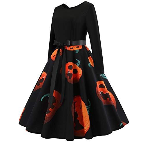 feiledi Trade Disfraz de Calabaza de Halloween, Vestido de Manga Larga con impresión Vintage, Vestido de Halloween, Vestido de Fiesta de Manga Larga, Vestido de Fiesta de Noche, Pumpkin, X-Large