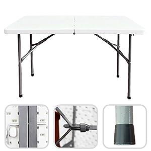 Zusammenklappbarer Campingtisch 124 cm - faltbarer Buffettisch mit Griff
