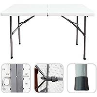 Todeco - Table Pliante Transportable, Table en Plastique Robuste - Matériau: HDPE - Charge maximale: 100 kg - 122 x 61 cm, Blanc, Pliable en Deux