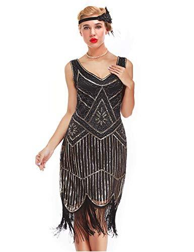 GVOICE Damen 1920er Jahre Vintage Kleid - Fransen Great Gatsby Kleid (10/5000 hell Gold, S(UK 10 / EU 38) Bust 33.1'') (Fransen-kleid-gold)