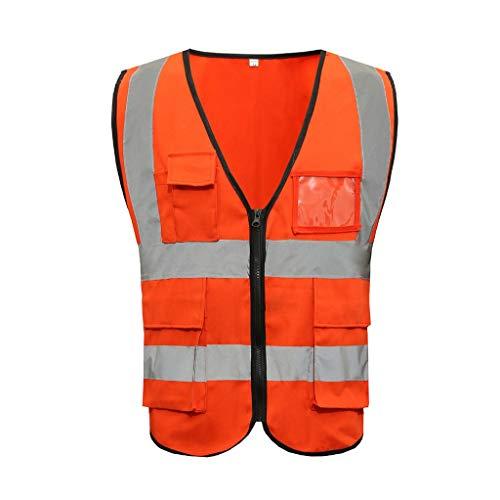 FGYBFQY FH Sicherheitsweste, Polyester-Baumwolle Multi-Tasche Straßensicherheit BAU Weste Nachtarbeit Warnweste, Einheitsgröße (Farbe : Orange red)