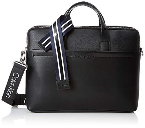 Calvin Klein Herren Flex 2 Gusset Laptop Bag Tasche, Schwarz (Black), 8x28x37 cm