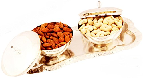 Ghasitaram Gifts Diwali Gifts Dry Fruits Hamper - Set of 2 Silver Bowl Lid Set with Dryfruits  available at amazon for Rs.1890