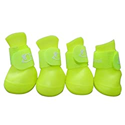Yellow, S : Dog Shoes Candy Colors LetterS Pattern Waterproof Rain Boots Pet Small Fresh Shoes Booties 7314