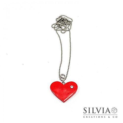 Collana lunga con cuore rosso e strass San Valentino