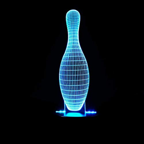 Bowling Pins 3D Kleines Nachtlicht USB Sockel Bunte LED Acryl Panel Fernbedienung/Touch 3D Stereoskopische Mode Kreative Kinderzimmer Lampe (größe : Touch)