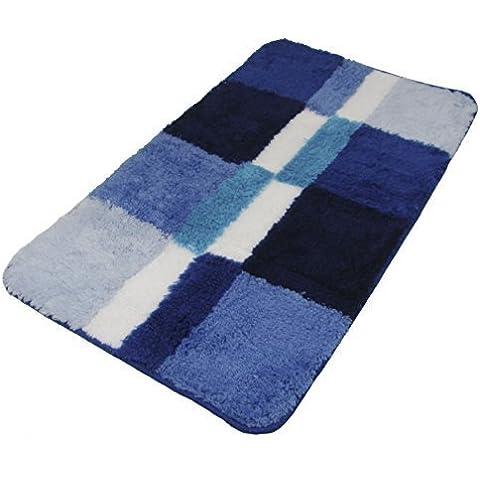 Alfombra grande de baño a cuadros bloques azul verde azulado crema 35 X 22