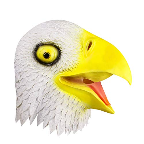 Weißkopfseeadler Kopfmaske, Halloween Requisiten Spirituelles Symbol Adler Maske, Cosplay Kostüme Dekoration Latex Freiheit Adler Vogel Maske, Tierkopf Maske Weiß