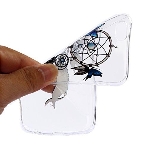Girlyard Trasparente Gomma Custodia per iPhone 6/6S 4.7,Ultra Sottile Cristallo Morbido Gel TPU Backcover per iPhone 6/6S 4.7 Guscio Protettivo in Silicone Crystal Clear Colorate Pattern Disegni Ant Blu Butterfly Carillon