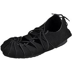 Elbenwald Los Hombres Medievales Bund Zapatos con Cordones de Ante Negro 42-48 - 48