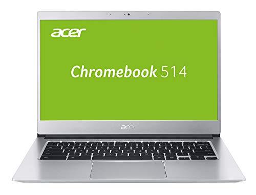 Acer Chromebook 514 (14 Zoll Full-HD IPS matt, Aluminium Unibody, 17mm flach, extrem lange Akkulaufzeit, schnelles WLAN, beleuchtete Tastatur, Google Chrome OS, inkl. Maus + Protective Sleeve) Silber