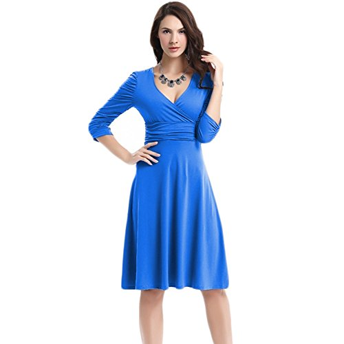 WintCo Damenkleid Party Büro Reise Fashion Kleid 1/2 Ärmel Kleid Blau-1