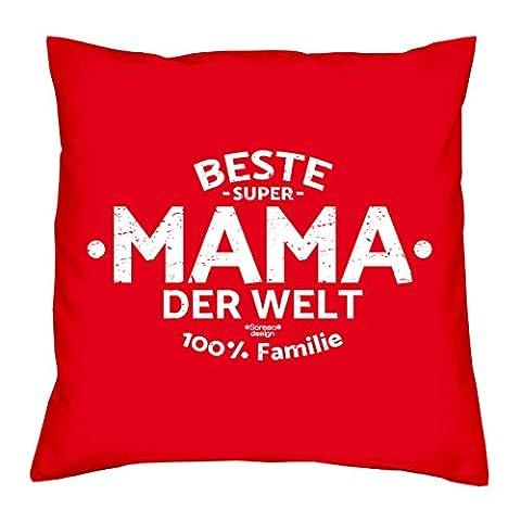 Deko Kissen mit Füllung :-: Größe: 40x40 cm :-: Beste Mama der Welt :-: Geschenkidee Mutter Geburtstagsgeschenk Farbe: rot