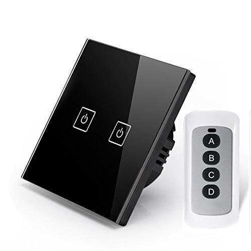 Dimmer Schalter, WLAN Smart Schalter mit Fernbedienung,BG&MF Lichtschalter Touch Panel 110V bis 220V LED-Hintergrundbeleuchtung kompatibel-Schwarz